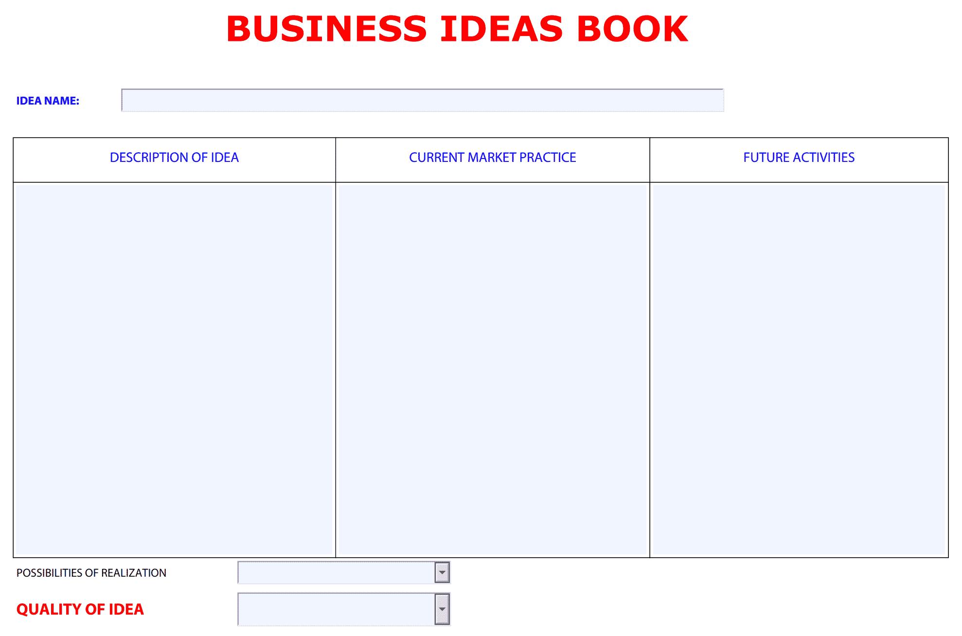 business ideas book template
