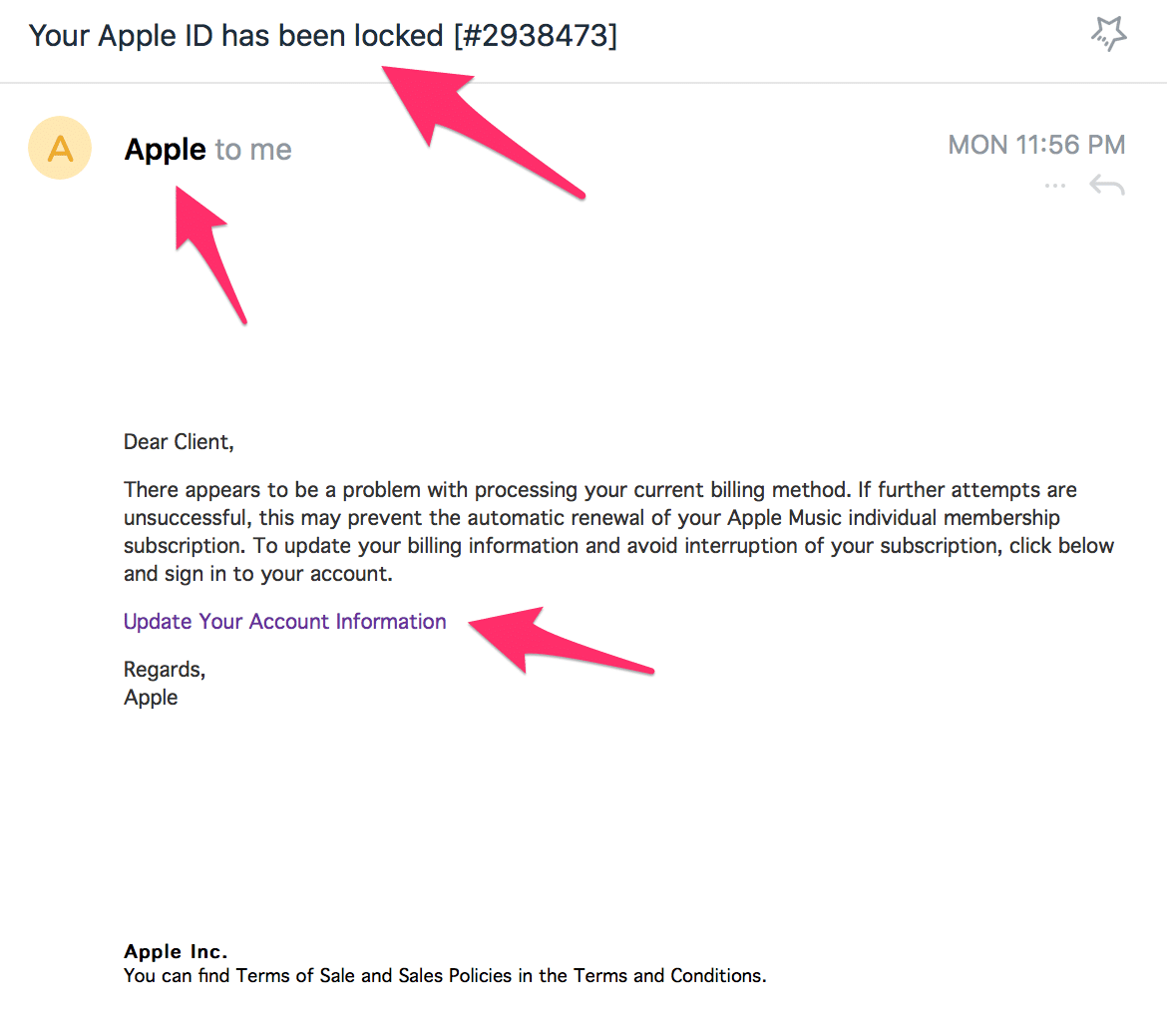 Example of Phishing Attacks Email