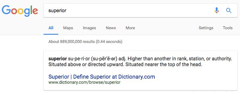 superior part of superior value proposition